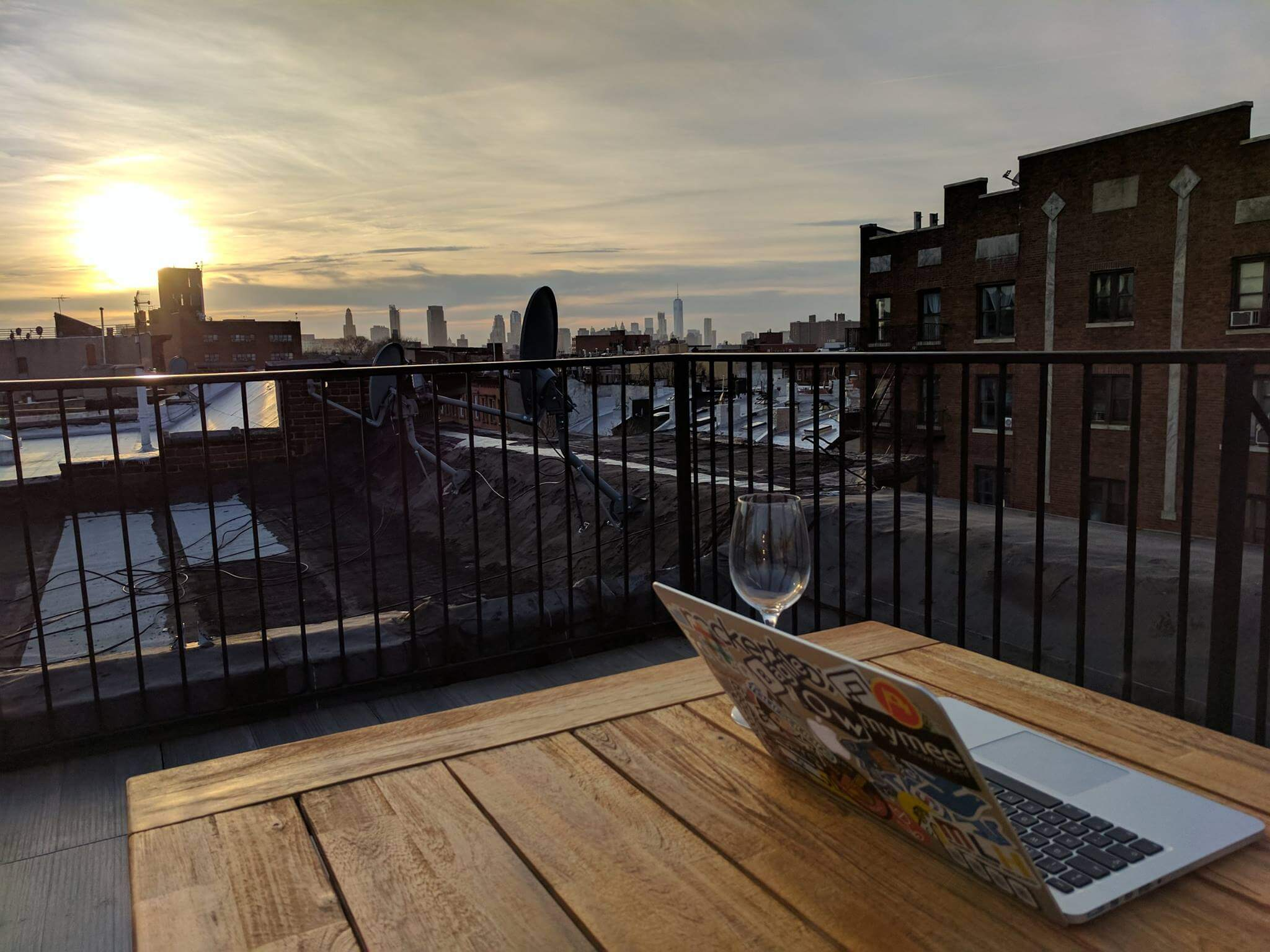 A member enjoys working from home on his private rooftop in Crown Heights, Brooklyn.