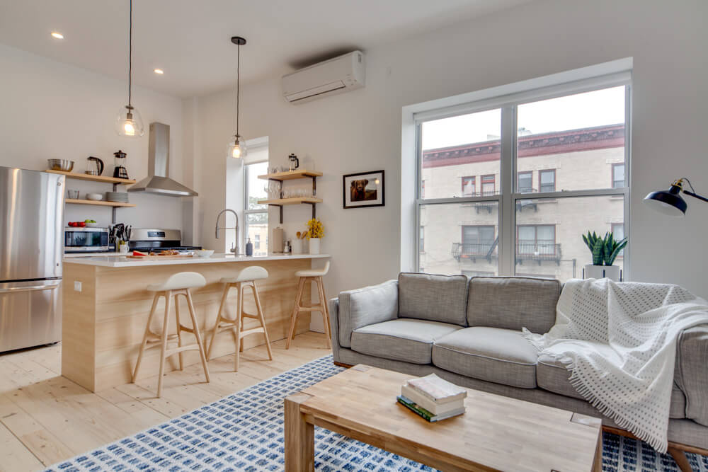 The wooden furniture matches throughout the space.