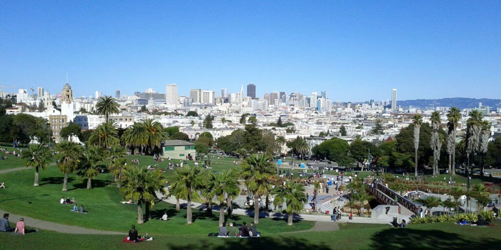 Mission Dolores Park in California. https://secure.flickr.com/photos/peterkaminski/